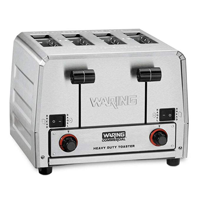An image of Waring 2700W Stainless Steel 4-Slice Silver 7-Mode Wide Slot Toaster