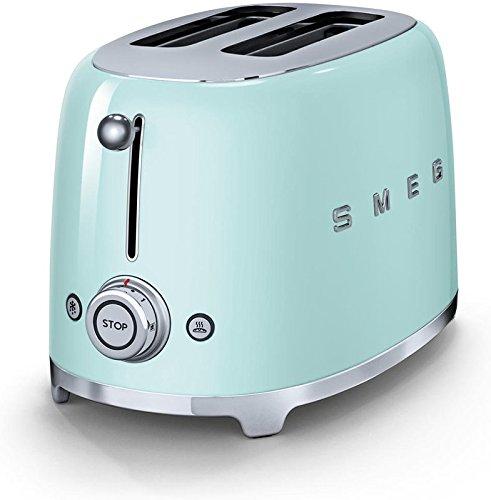 An image of Smeg 2-Slice Green 6-Mode Wide Slot Toaster