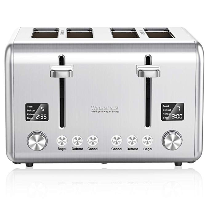 An image of Willsence 1800W Stainless Steel 4-Slice Silver 9-Mode Wide Slot Toaster