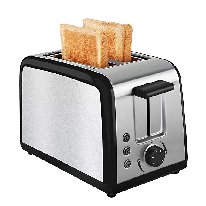 An image of Keemo 800W Stainless Steel 2-Slice 7-Mode Compact Cool Touch Wide Slot Toaster