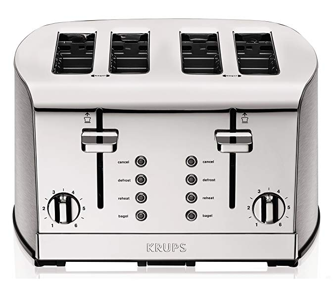 An image of Krups 1500W Stainless Steel 4-Slice Chrome 6-Mode Wide Slot Toaster