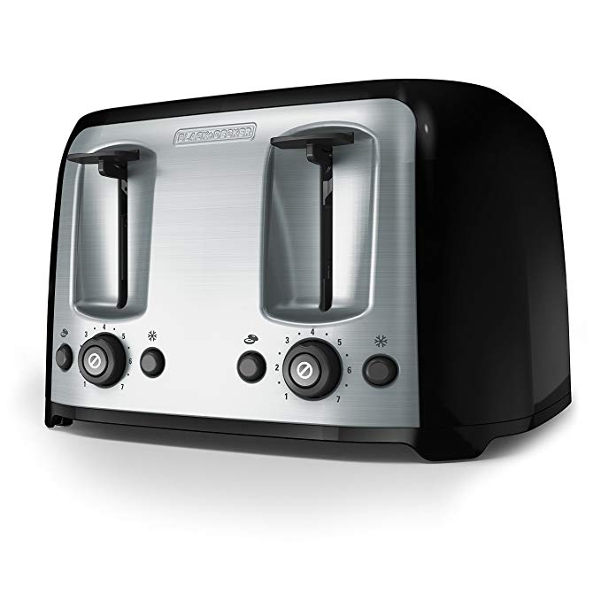 An image of BLACK+DECKER 1500W Stainless Steel 4-Slice Classic Black Wide Slot Toaster