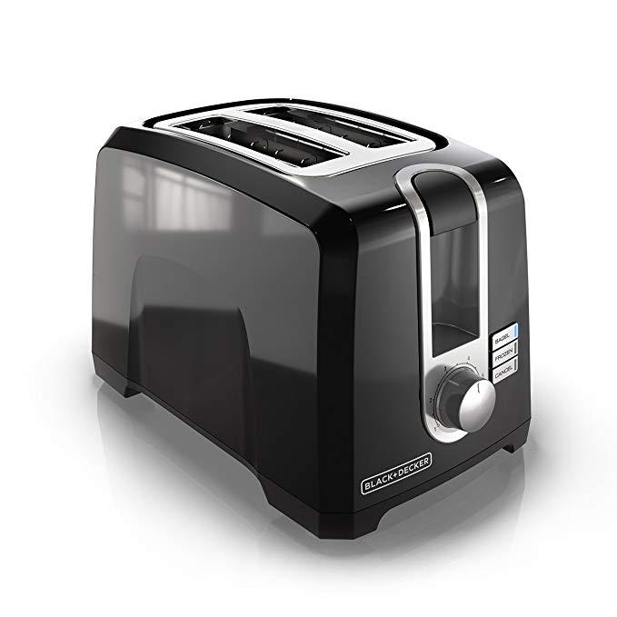 An image of BLACK+DECKER 850W 2-Slice Black 6-Mode Wide Slot Toaster