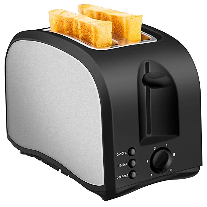 An image of Chitomax 850W Stainless Steel 2-Slice Black 7-Mode Compact Cool Touch Wide Slot Toaster