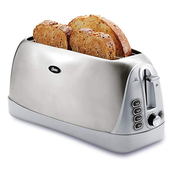An image of Oster TSSTTR6330-NP Stainless Steel 4-Slice 7-Mode Long Slot Toaster