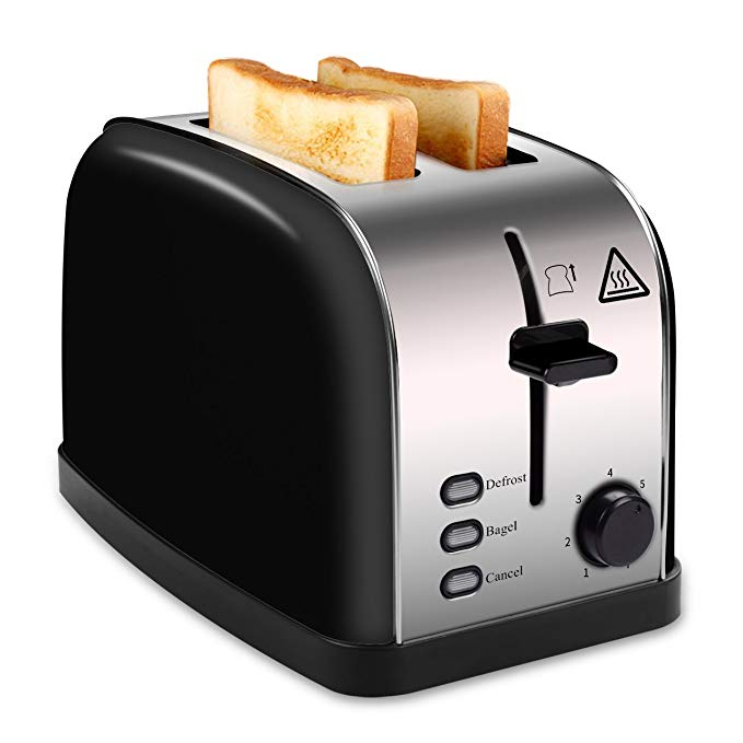 An image of Madetec 850W Stainless Steel 2-Slice Black 7-Mode Wide Slot Toaster