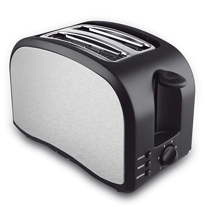 An image related to Home Gizmo Stainless Steel 2-Slice Black 6-Mode Compact Cool Touch Wide Slot Toaster
