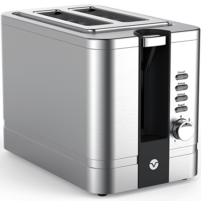 An image of Vremi 850W Stainless Steel 2-Slice Modern Silver 7-Mode Compact Wide Slot Toaster