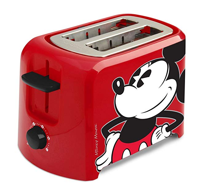 An image of Disney Plastic Mickey Mouse 2-Slice Red and Black 5-Mode Wide Slot Toaster