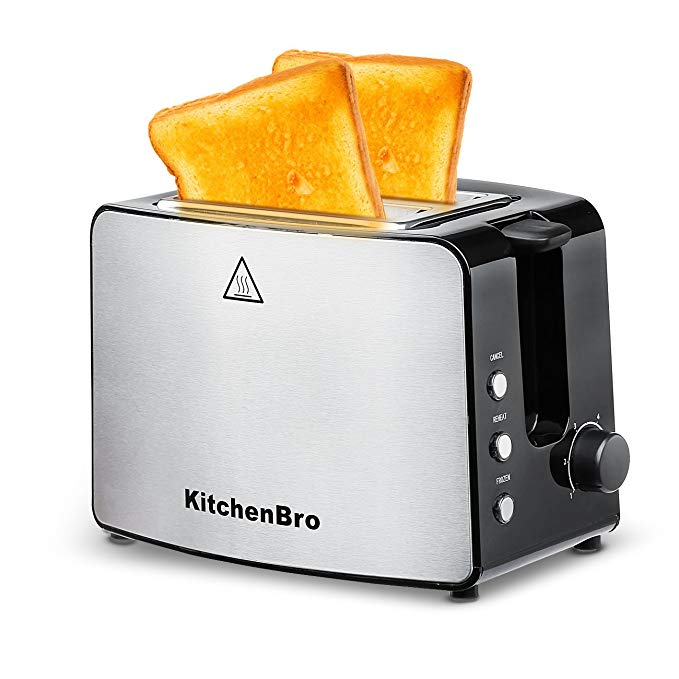 An image related to KitchenBro Stainless Steel 2-Slice Compact Wide Slot Toaster