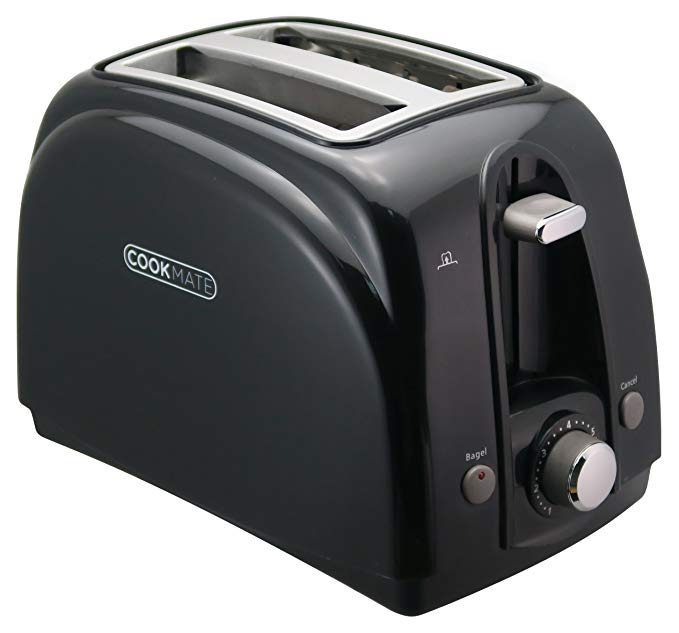 An image of Cookmate 750W 2-Slice Classic Black 7-Mode Wide Slot Toaster