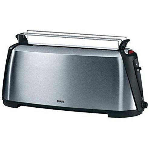 An image of Braun 1080W Stainless Steel Modern 7-Mode Cool Touch Wide Slot Toaster | The Top Toasters