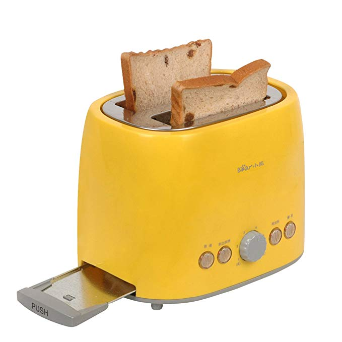An image related to BEAR 680W Stainless Steel 2-Slice Yellow 6-Mode Compact Wide Slot Toaster