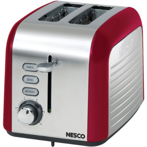 An image related to Nesco T1000-12 Stainless Steel 2-Slice Red and Stainless Steel 6-Mode Cool Touch Wide Slot Toaster