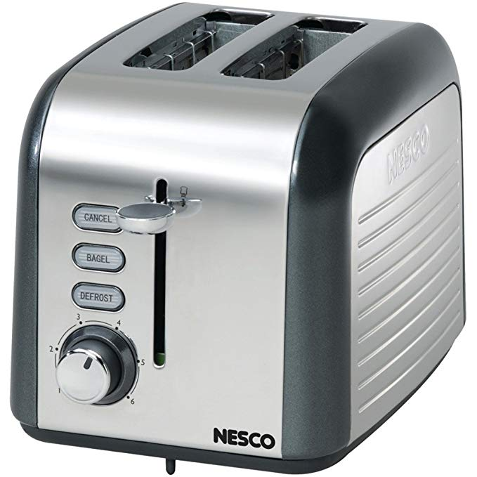 An image of Nesco T1000-13 Stainless Steel 2-Slice Silver 6-Mode Cool Touch Wide Slot Toaster