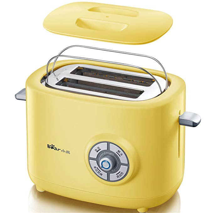 An image of BEAR DSL-A02G1 220V Stainless Steel 2-Slice Yellow 6-Mode Compact Wide Slot Toaster