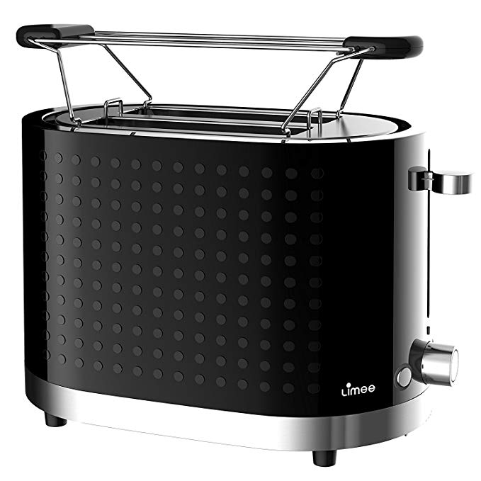 An image of LIMEE 1000W 2-Slice Black 7-Mode Wide Slot Toaster | The Top Toasters