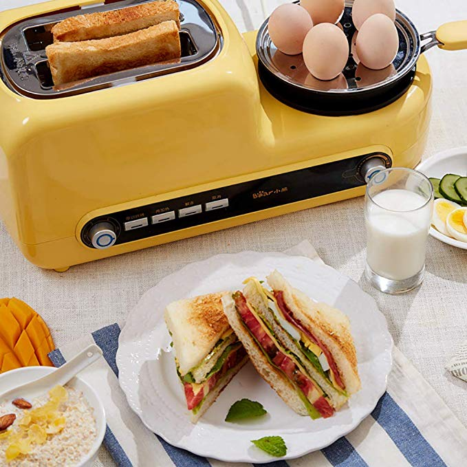An image of BEAR Stainless Steel 2-Slice Cream 6-Mode Wide Slot Toaster