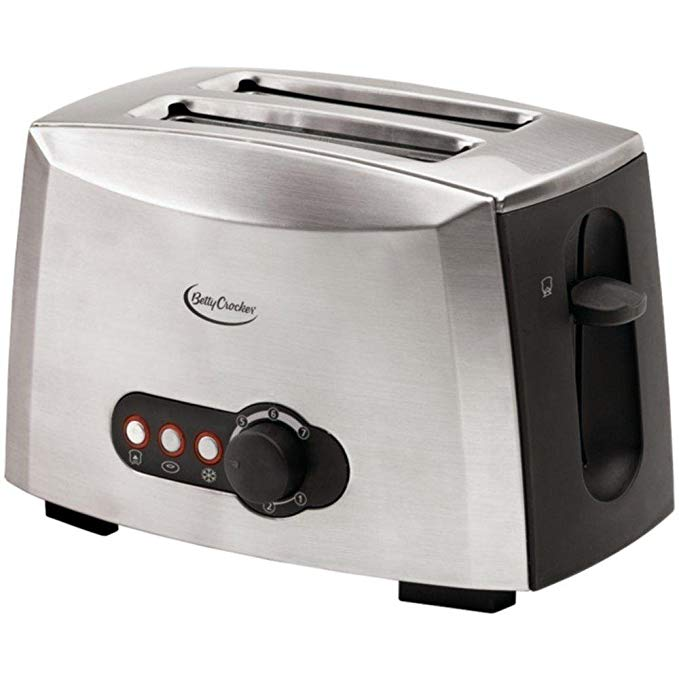 An image of Betty Crocker BC-1618C Stainless Steel 2-Slice Silver 7-Mode Wide Slot Toaster
