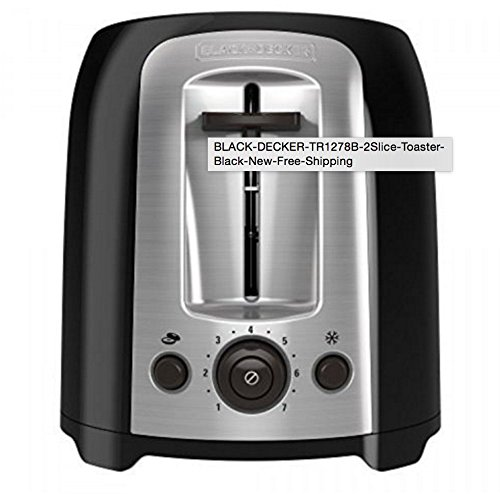 An image of BLACK+DECKER TR1278B 850W Plastic 2-Slice Black 7-Mode Compact Wide Slot Toaster