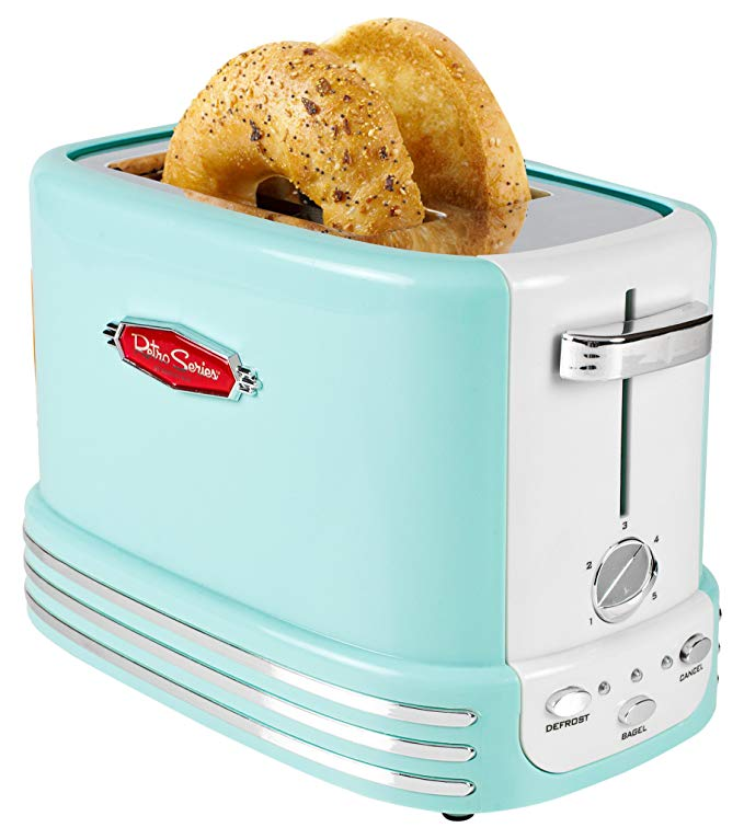 An image related to Nostalgia 900W Blue Long Slot Toaster