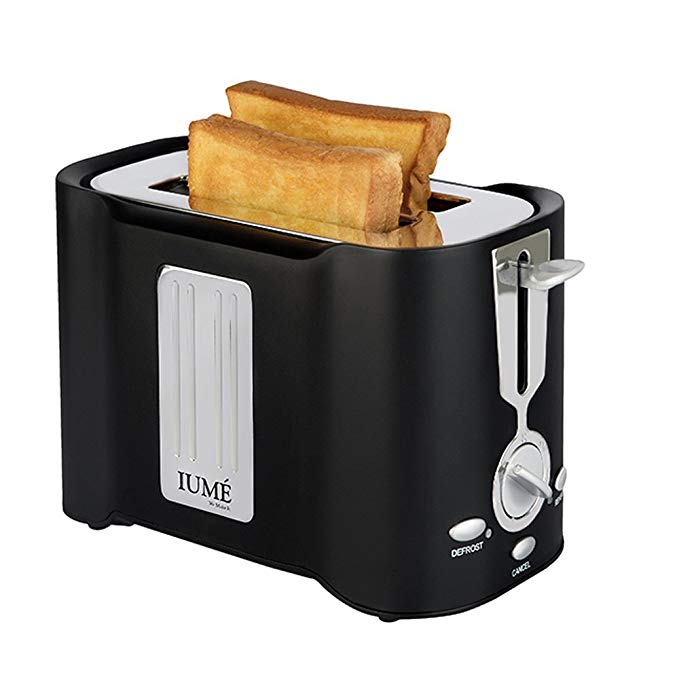 An image related to IUMÉ 850W Stainless Steel 2-Slice Black 6-Mode Cool Touch Wide Slot Toaster