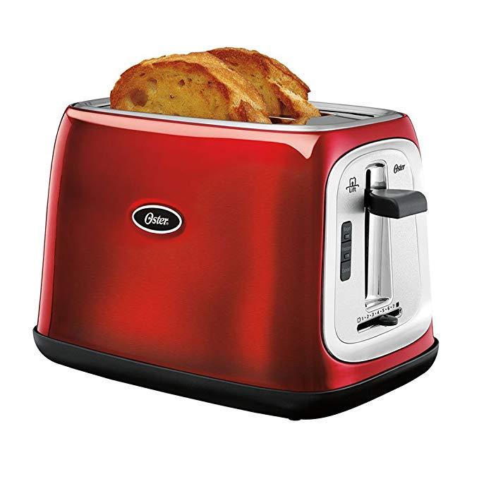 An image of Oster TSSTTRJB07 2-Slice Red 7-Mode Toaster