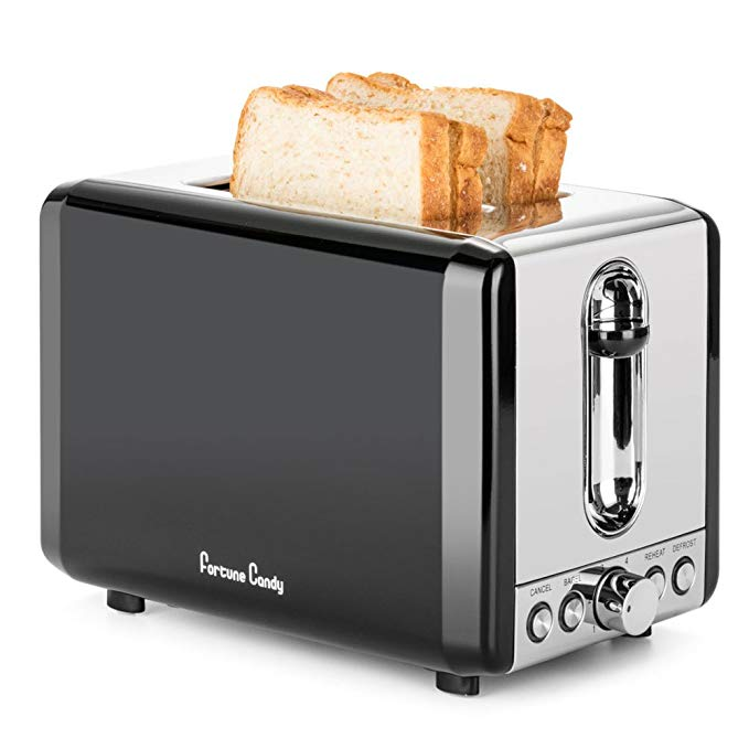 An image of Fortune Candy 850W Stainless Steel 2-Slice Classic Black 6-Mode Compact Wide Slot Toaster