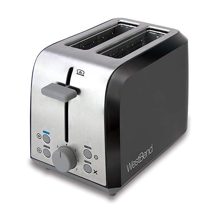 An image of West Bend 900W Stainless Steel 2-Slice Black 7-Mode Wide Slot Toaster