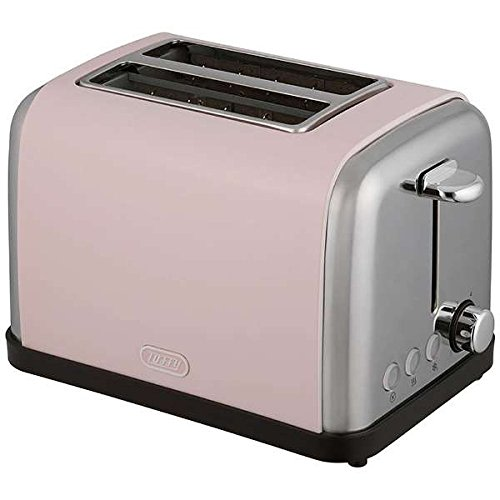 An image of Toffy K-PT1-SP 900W Pink 6-Mode Long Slot Toaster