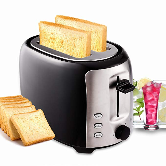 An image of Homdox 800W Stainless Steel 2-Slice Modern Black 7-Mode Compact Cool Touch Wide Slot Toaster