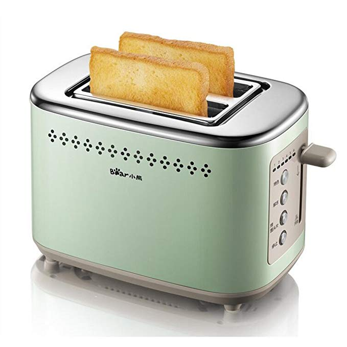 An image related to BEAR 800W Stainless Steel 2-Slice Green 6-Mode Wide Slot Toaster