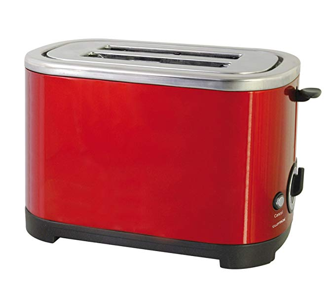 An image of Lloytron 700W Stainless Steel 2-Slice Red Cool Touch Toaster