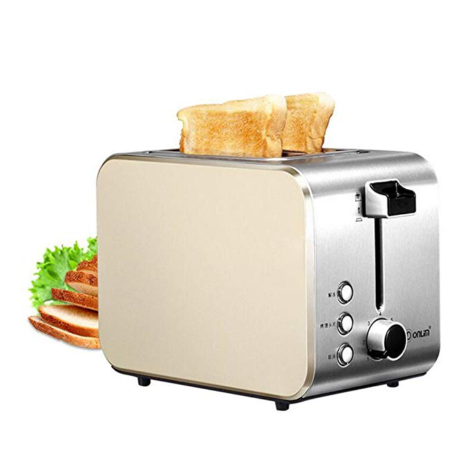 An image of Donlim 750W Stainless Steel 2-Slice Beige and Silver Wide Slot Toaster