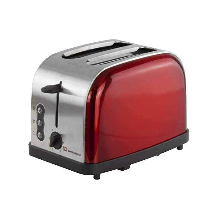 An image of SQ Professional 900W Stainless Steel 2-Slice Red 6-Mode Toaster