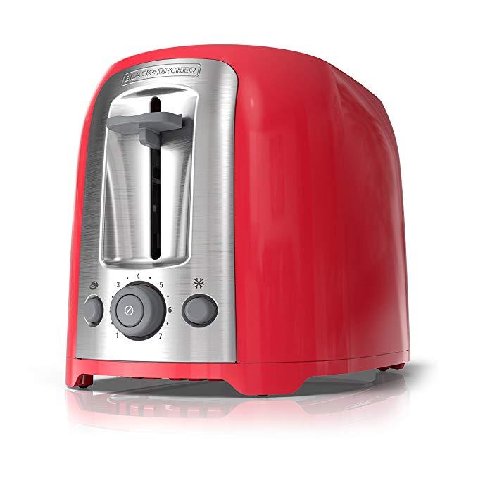 An image of BLACK+DECKER 2-Slice Red 7-Mode Wide Slot Toaster