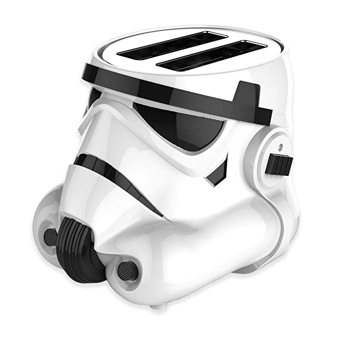 An image of Uncanny Brands 850W Plastic Stormtrooper 2-Slice White 2-Mode Cool Touch Wide Slot Toaster