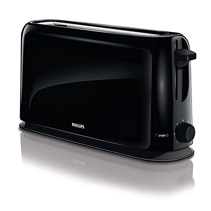 An image of Philips 1150W Black 7-Mode Cool Touch Wide Slot Toaster
