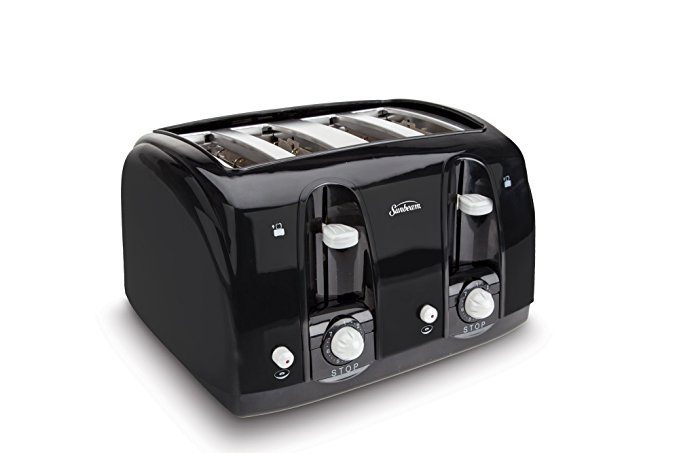 An image of Sunbeam 4-Slice Modern Black 7-Mode Wide Slot Toaster | The Top Toasters