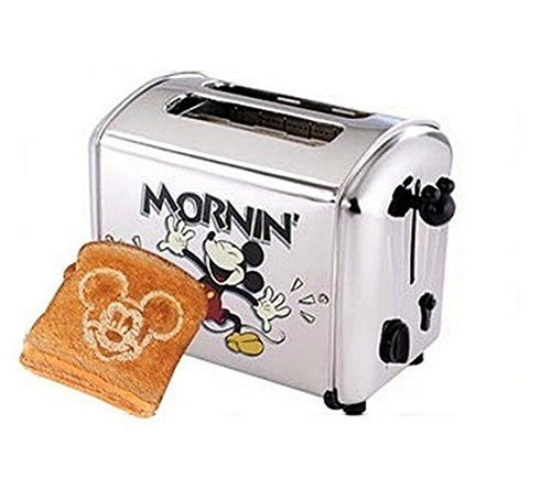 An image related to VillaWare V5555-15 Stainless Steel Mickey Mouse 2-Slice Classic Silver 5-Mode Compact Wide Slot Toaster