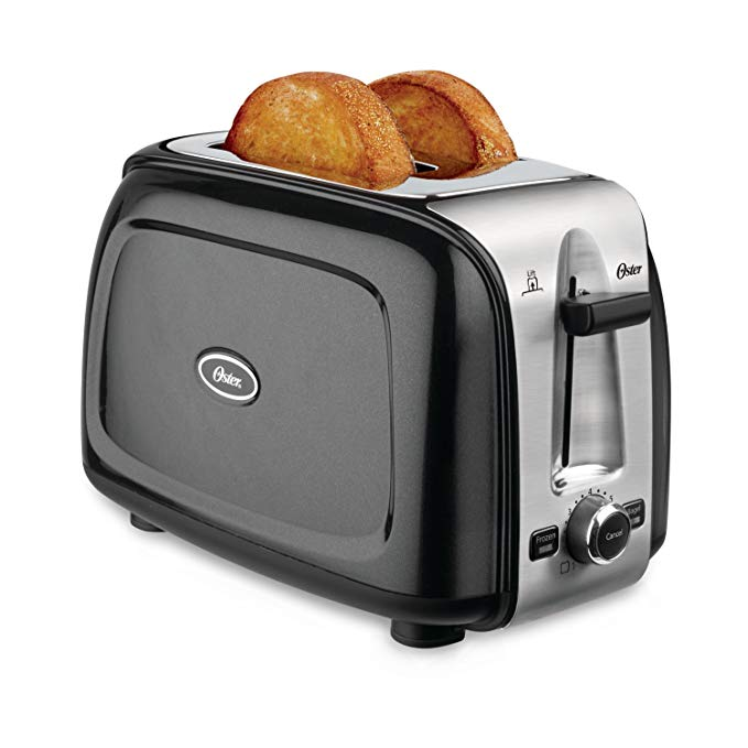 An image of Oster TSSTTRPMB2 2-Slice Black 7-Mode Wide Slot Toaster | The Top Toasters