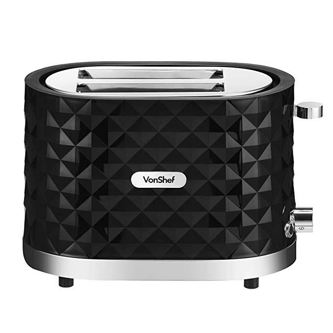 An image of VonShef 1000W 2-Slice Black Wide Slot Toaster