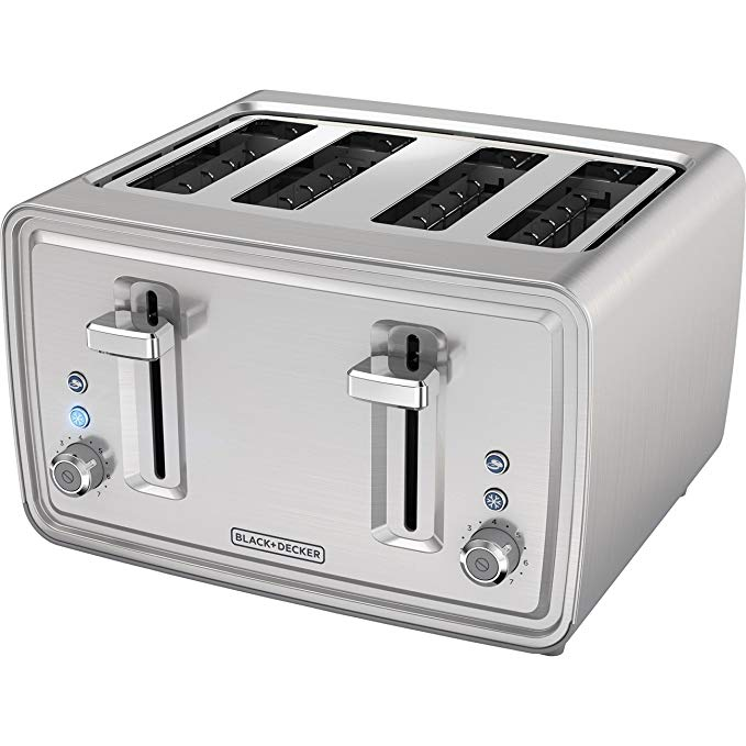 An image of BLACK+DECKER Stainless Steel 4-Slice Silver 7-Mode Wide Slot Toaster