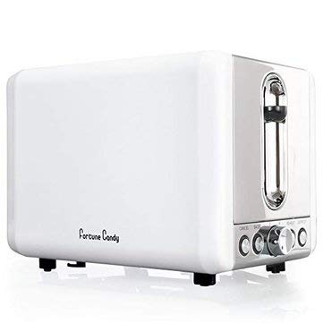 An image of Fortune Candy 110V Stainless Steel 2-Slice White Wide Slot Toaster