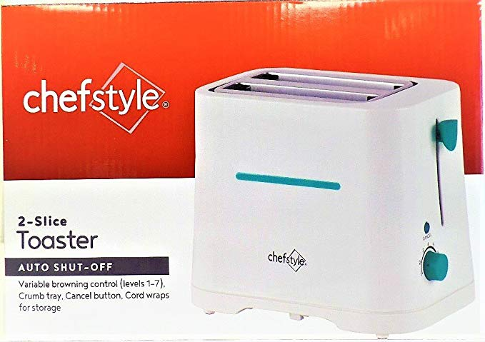 An image related to Chef Style 650W 2-Slice White 7-Mode Wide Slot Toaster