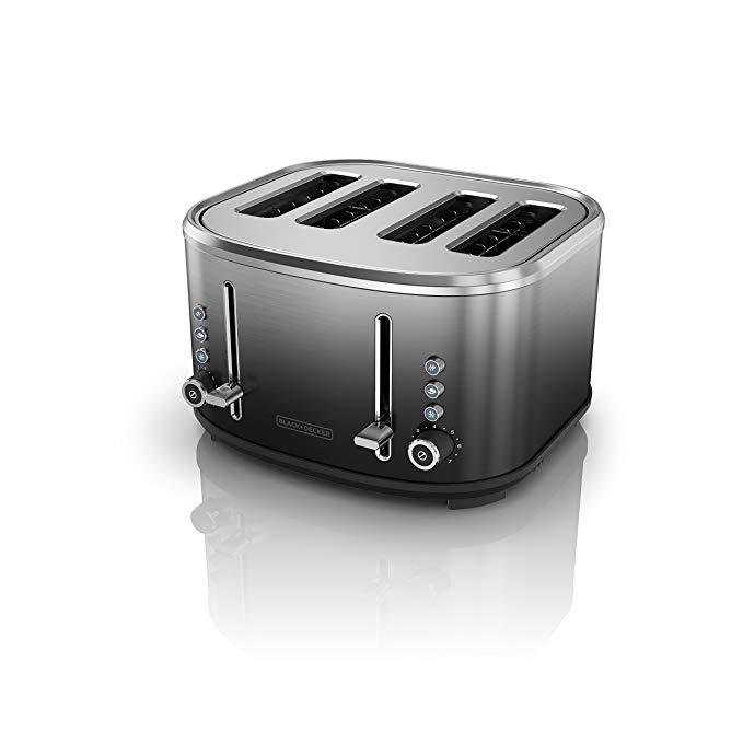 An image of BLACK+DECKER Stainless Steel 4-Slice Modern Black 7-Mode Wide Slot Toaster