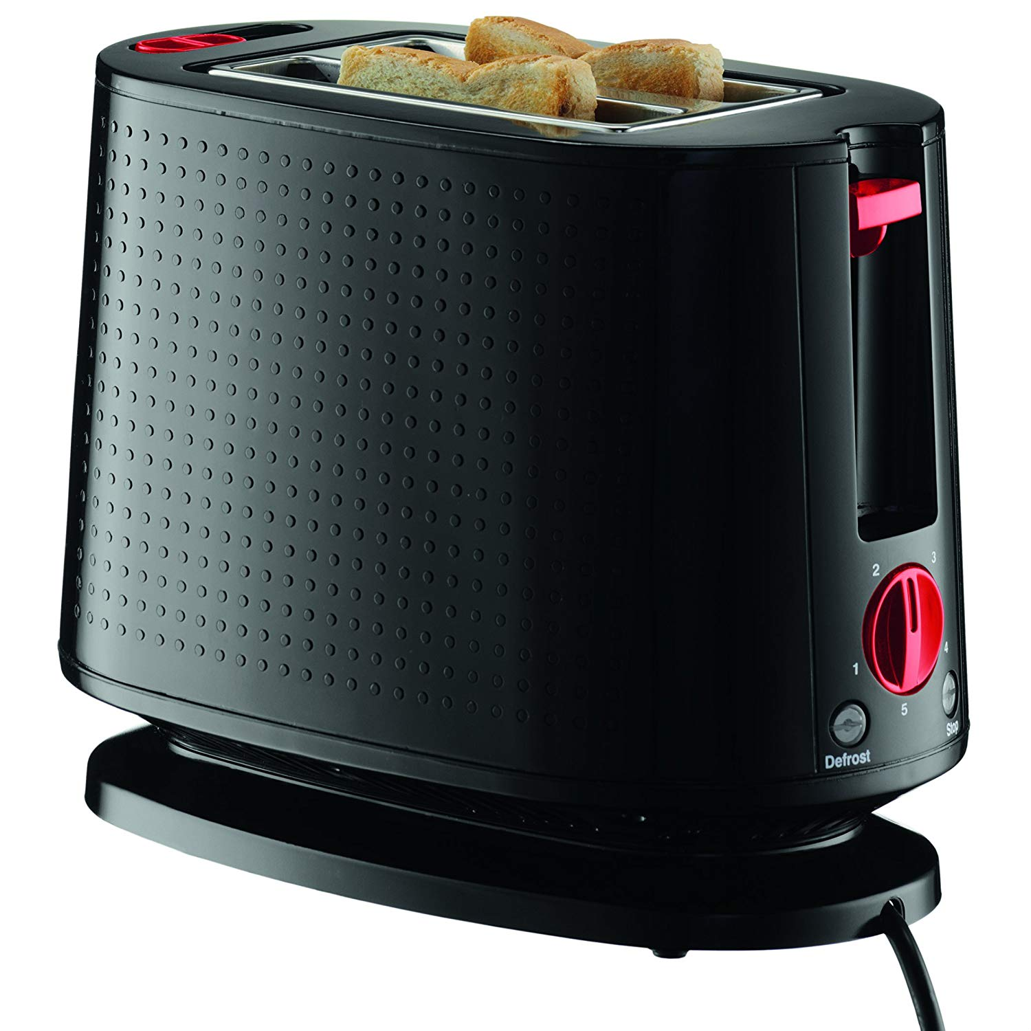 An image related to Bodum 10709-01US-3 900W Stainless Steel Modern Black Toaster