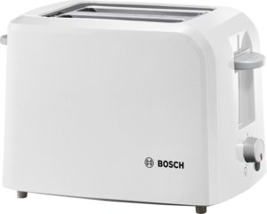 An image of Bosch 980W Plastic White Compact Toaster