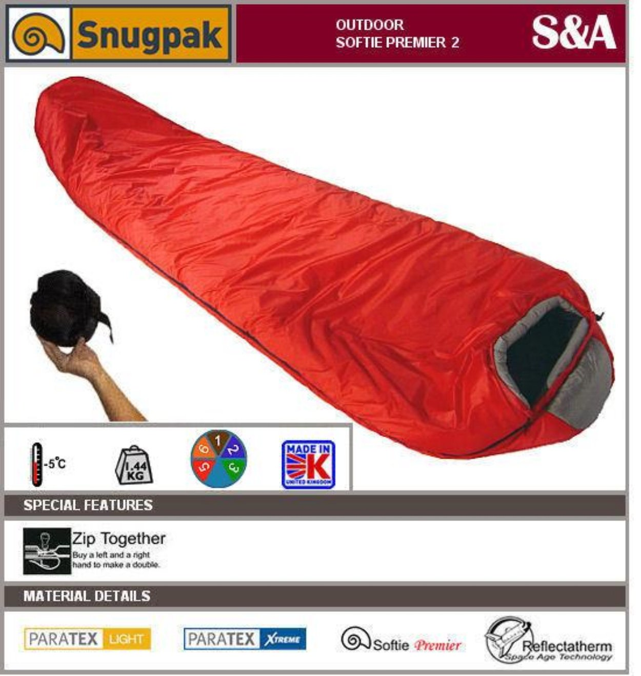 An image of Snugpak Premier II 92780 Sleeping Bag | Expert Camper