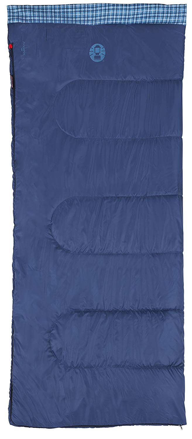 An image of Coleman Pacific Blue 205 205175 Men's 50 Degree Cotton Flannel Sleeping Bag